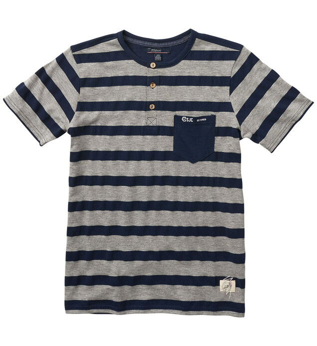 Short-Sleeve Striped Henley Tee (7-16)