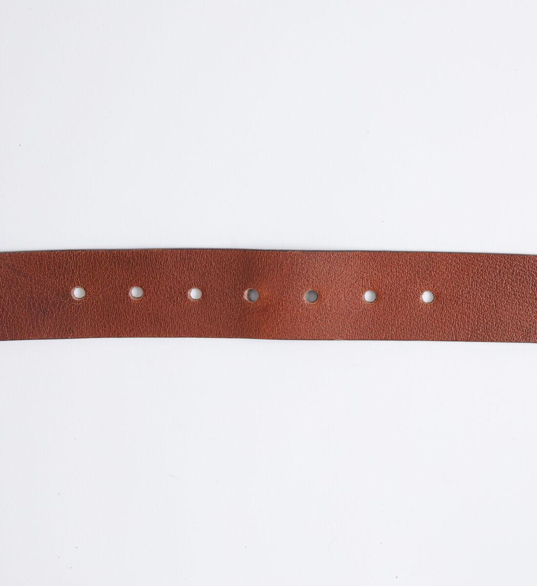 Pebbled Brown Leather Mens Belt Back