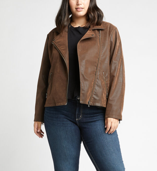 Sibley Faux-Suede Moto Jacket Plus Size