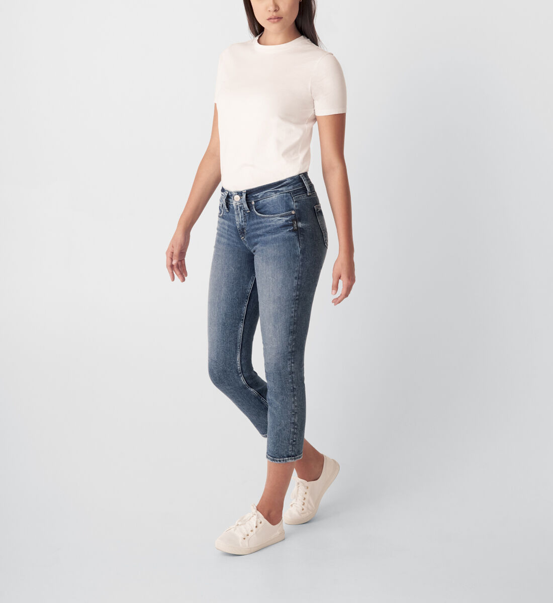 Suki Mid Rise Straight Crop Jeans Side