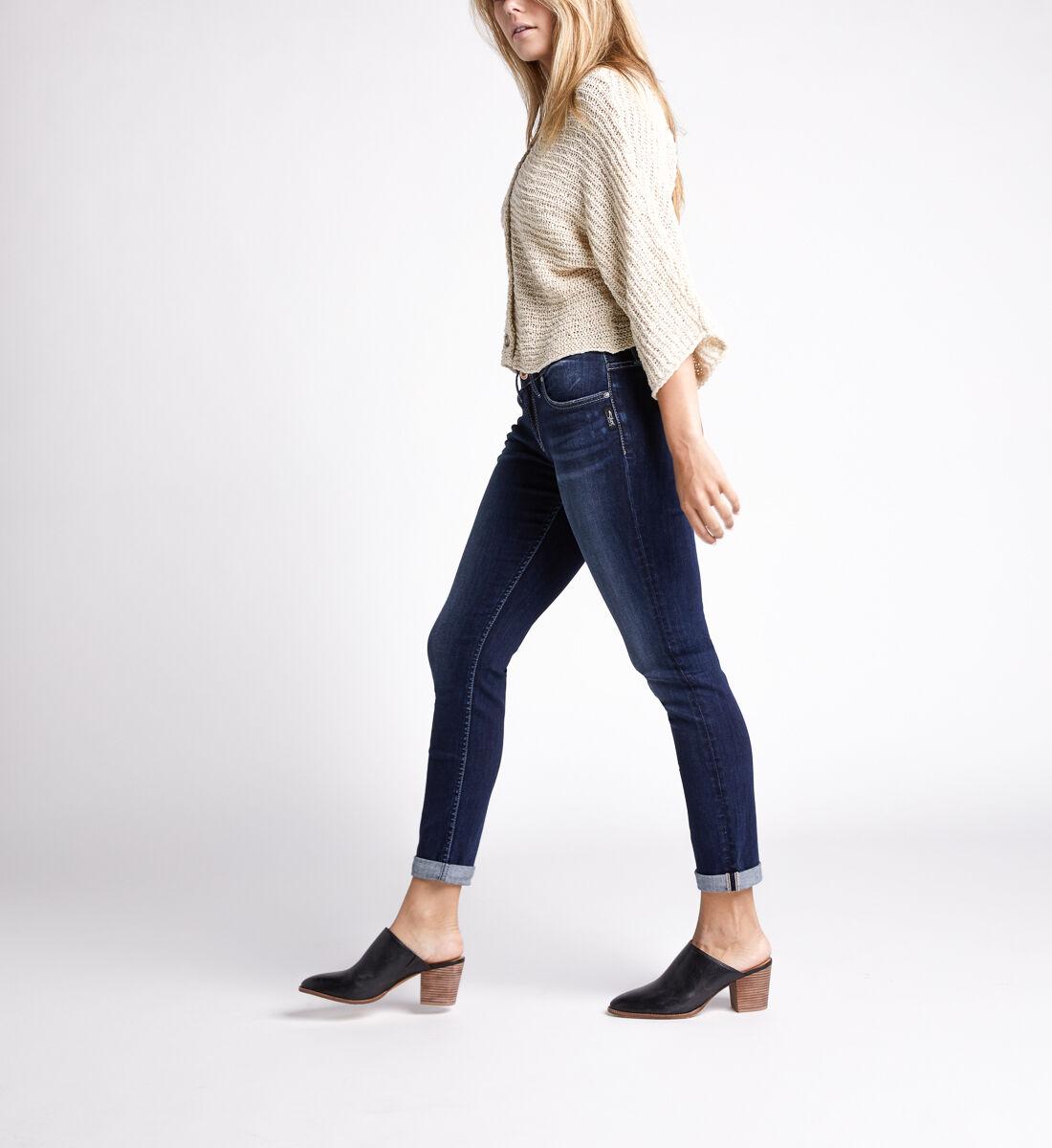 Boyfriend Mid Rise Slim Leg Jeans,Indigo Side