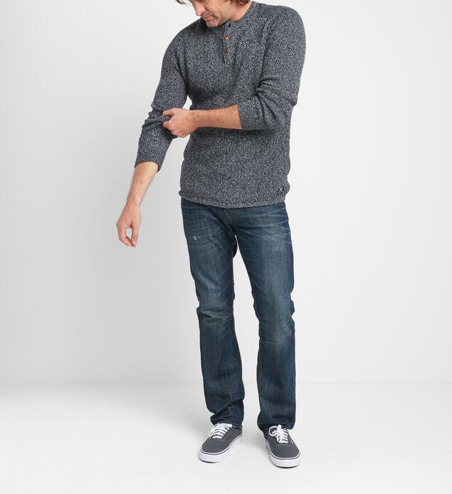 Bridger Marled-Knit Henley Sweater