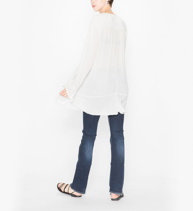 Sophia  - Flowy Tunic Peasant Top, Cloud, hi-res