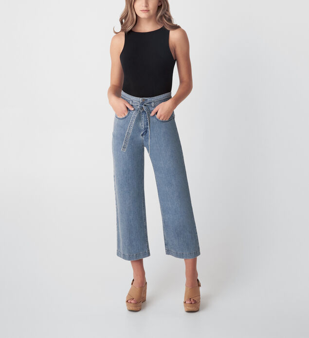 Belted High Rise Wide Leg Crop Jeans