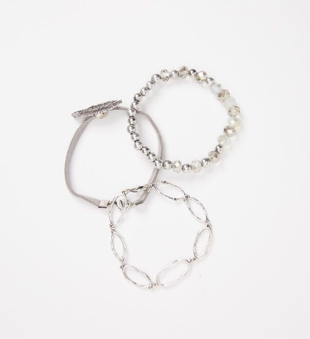 Silver-Tone Feather and Bead Bracelet Set, , hi-res