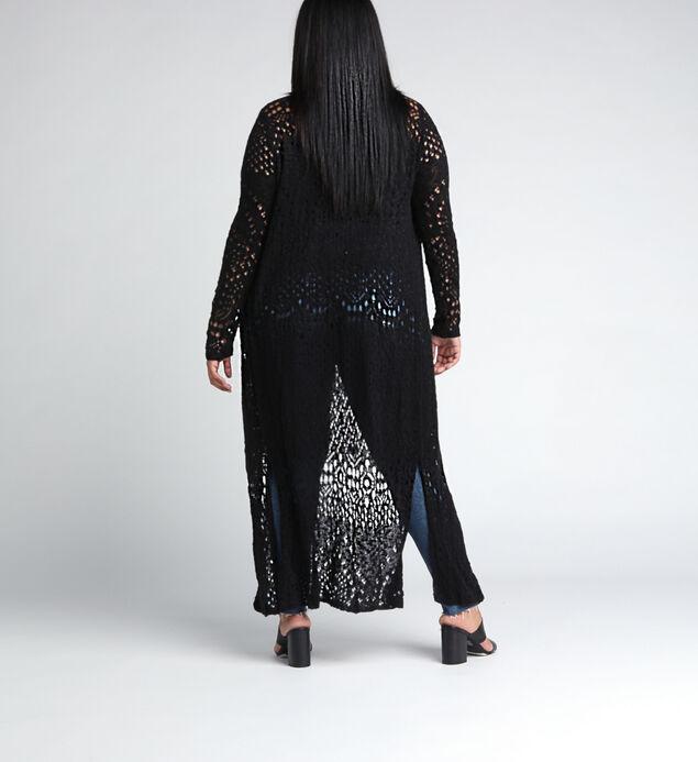 Abby Long-Sleeve Crochet Duster, Black, hi-res