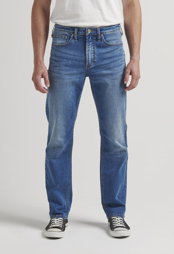 Men's classic fit straight leg jeans with a distressed light indigo wash