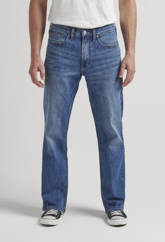 Men's easy fit bootcut jeans with a medium dark indigo wash