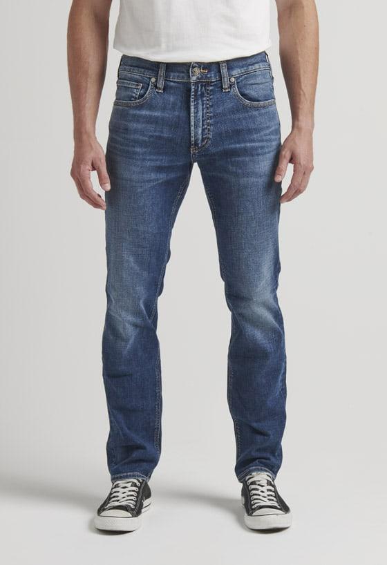 Men's slim fit slim leg jeans with worn-in dark indigo wash