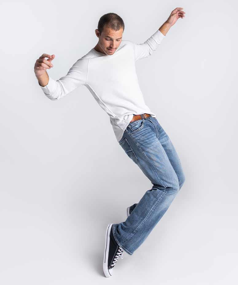 Male wearing amazingly flexible denim