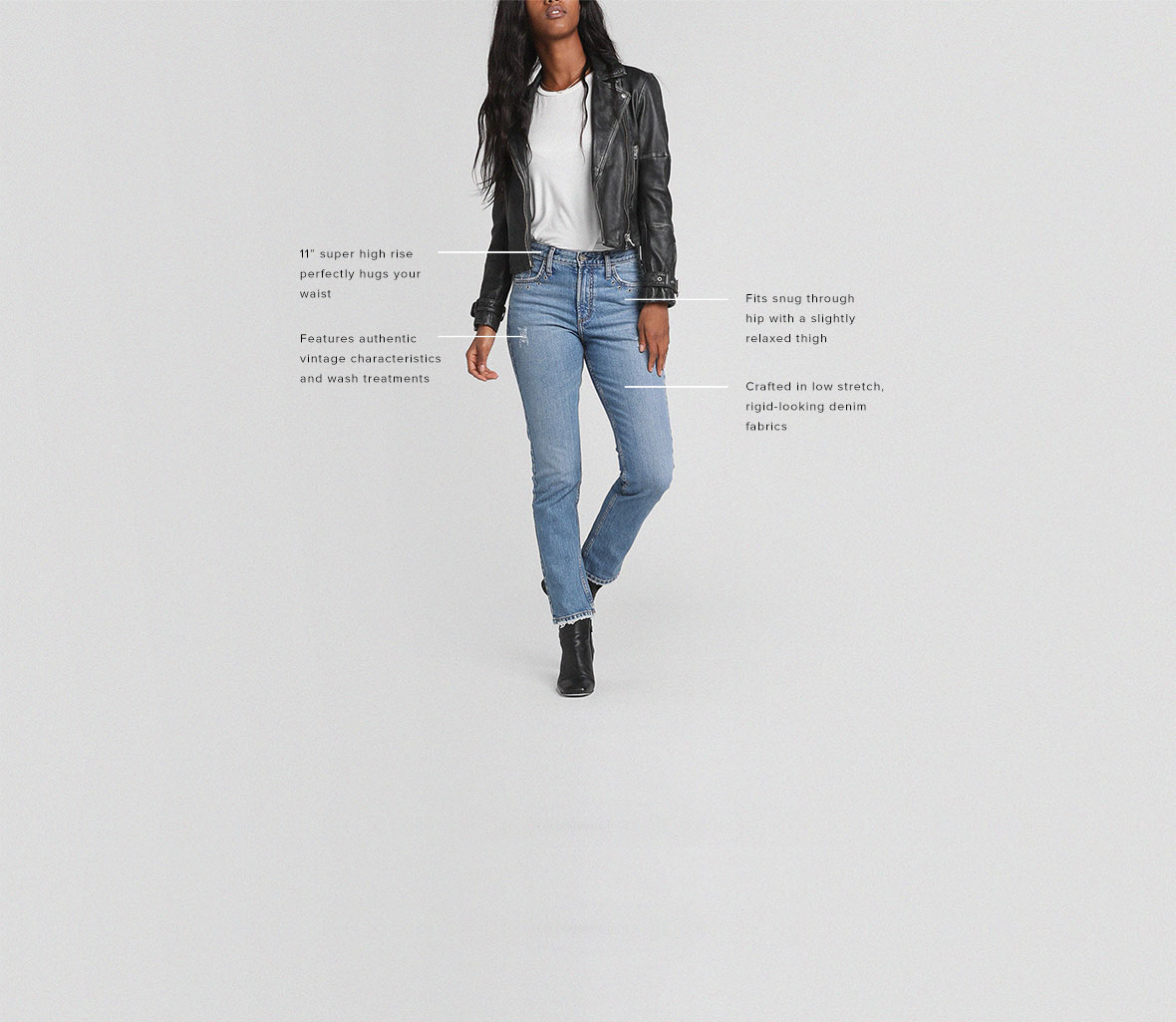 "-	11"" super high rise perfectly hugs your waist -	Fits snug through hip with a slightly relaxed thigh - Crafted in low-stretch, rigid-looking denim fabrics - Features authentic vintage characteristics and wash treatments"