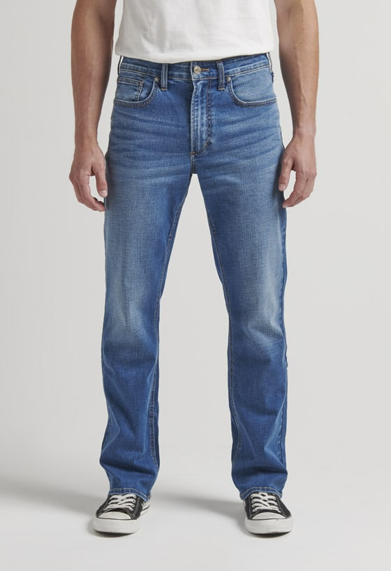 Men's easy fit straight leg jeans with a medium indigo wash