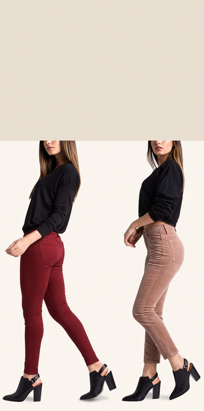 Silver Jeans Co.- image of three females wearing color jeans