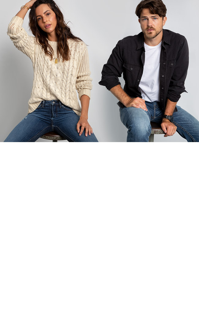 Image of a male and female wearing comfy denim