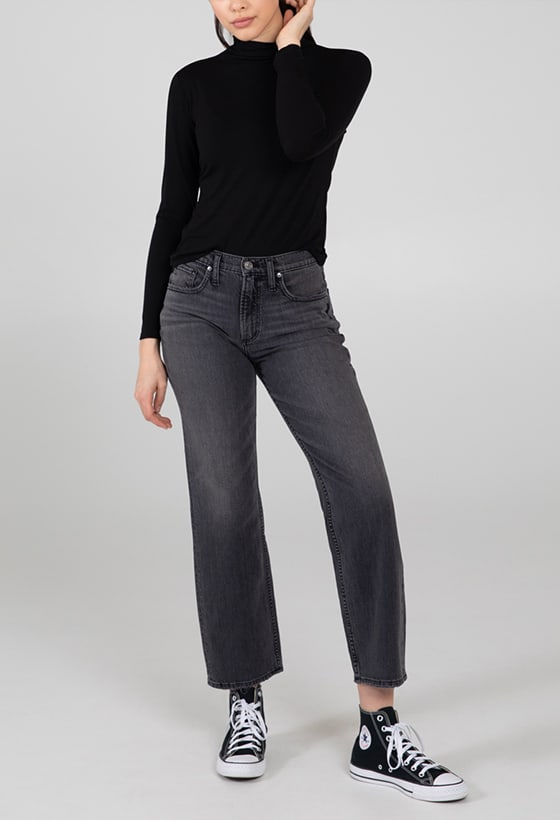 Women's universally flattering skinny jeans featuring a high rise and light indigo wash