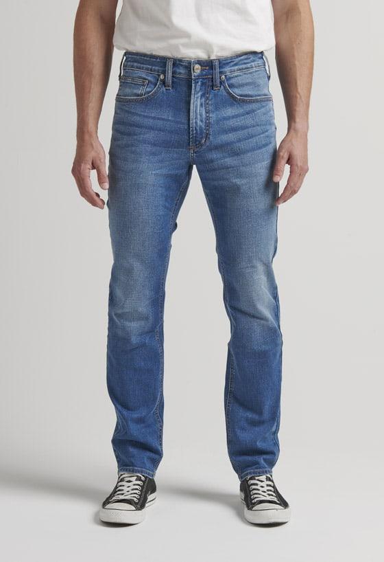 Men's slim fit slim leg jeans with a medium indigo wash
