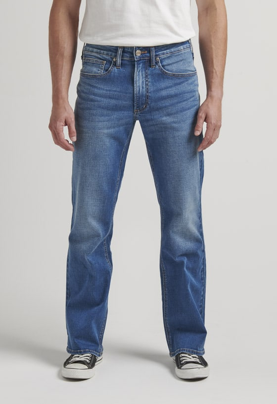 Men's relaxed fit straight leg jeans with a dark indigo wash