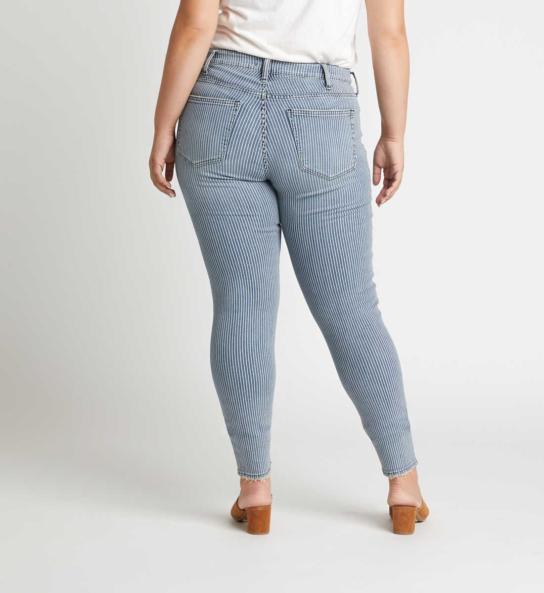 Avery High Rise Pinstripe Skinny Jeans Plus Size Back