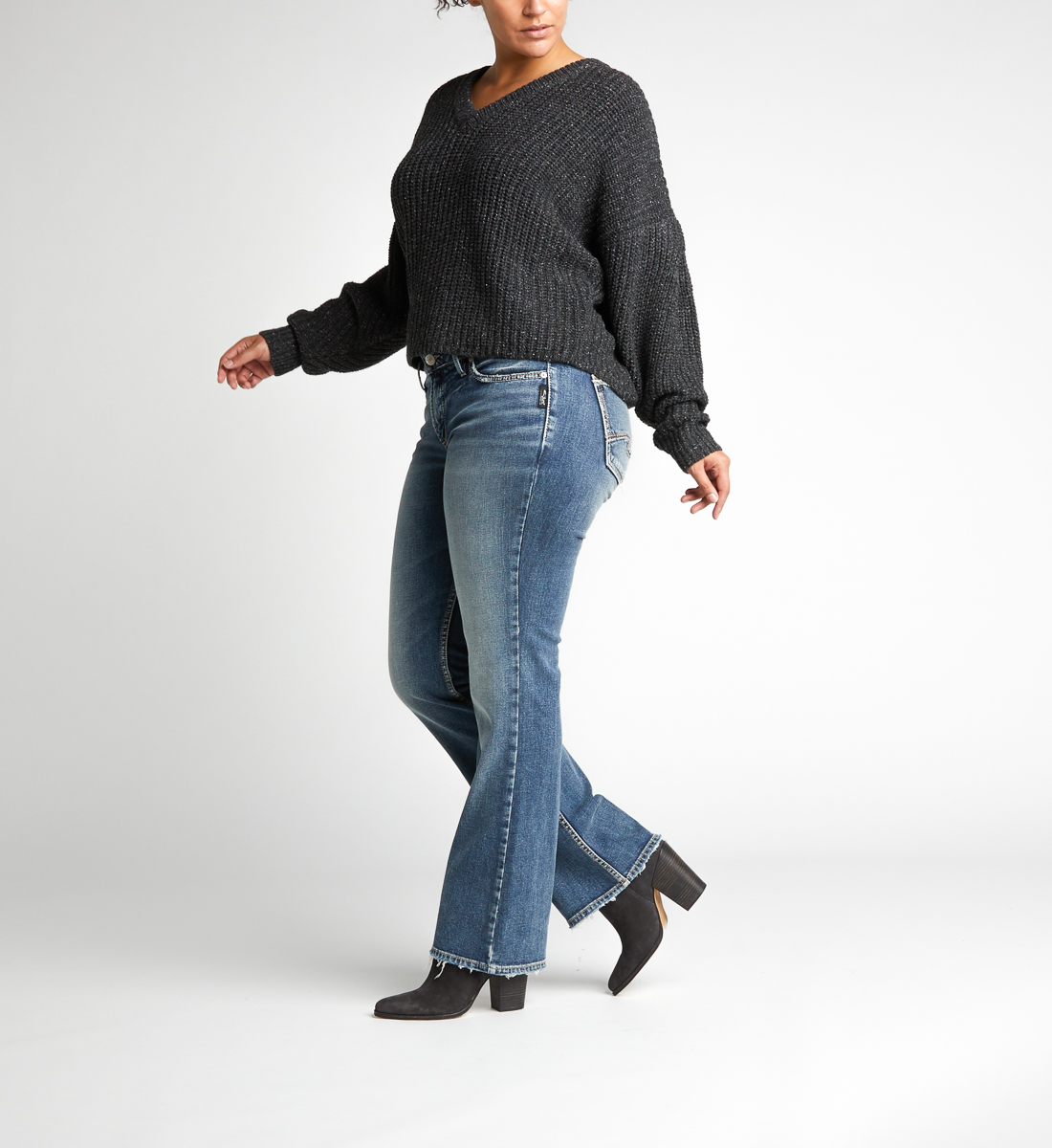 Suki Mid Rise Bootcut Jeans Plus Size Side