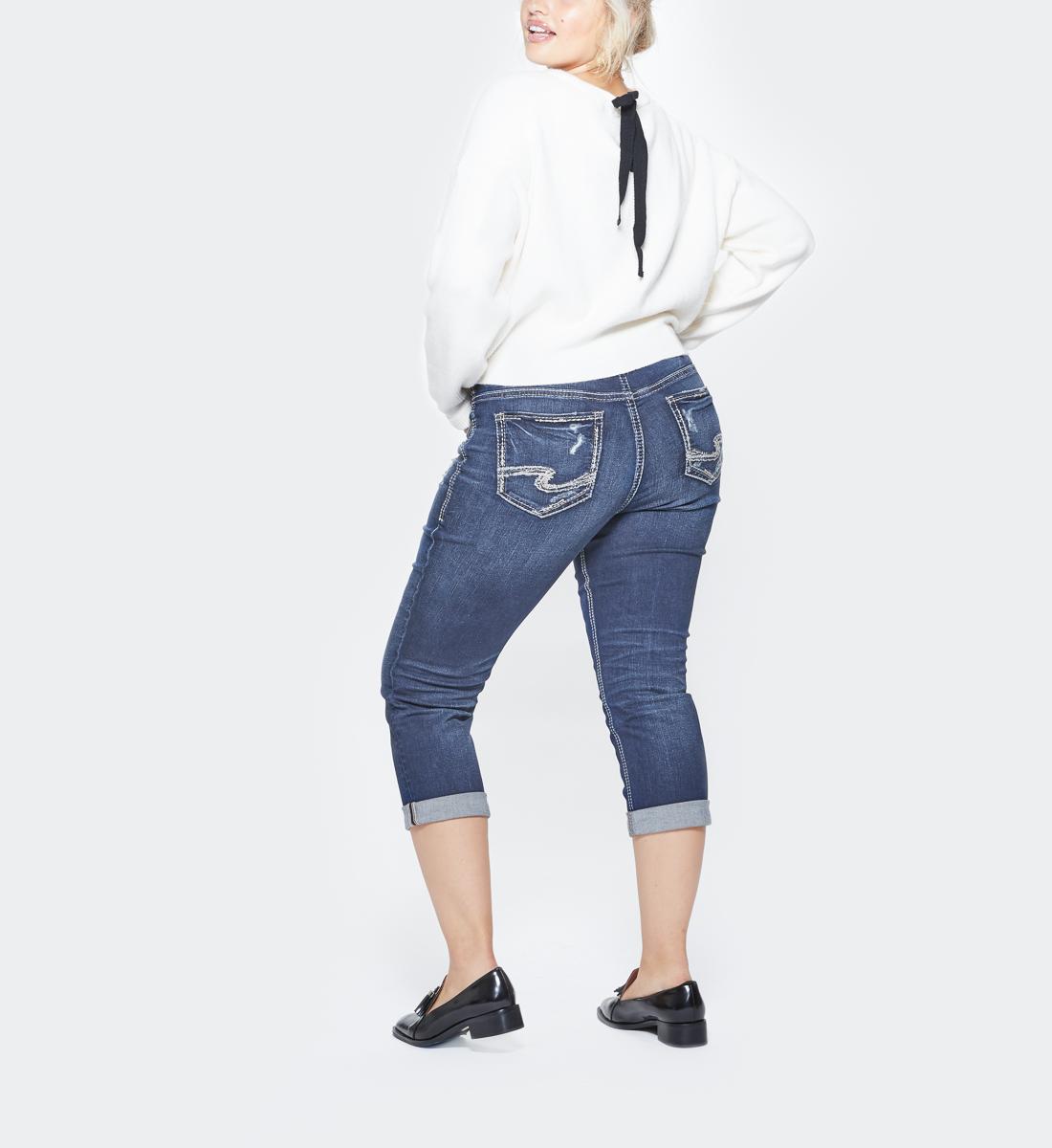 Suki Plus Size Capri Dark Wash Back