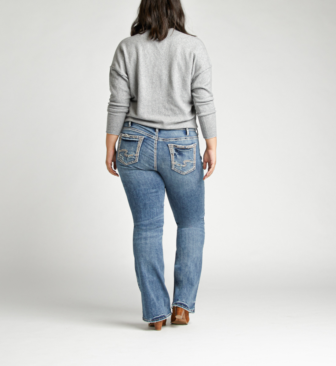 Elyse Mid Rise Bootcut Plus Size Jeans Back