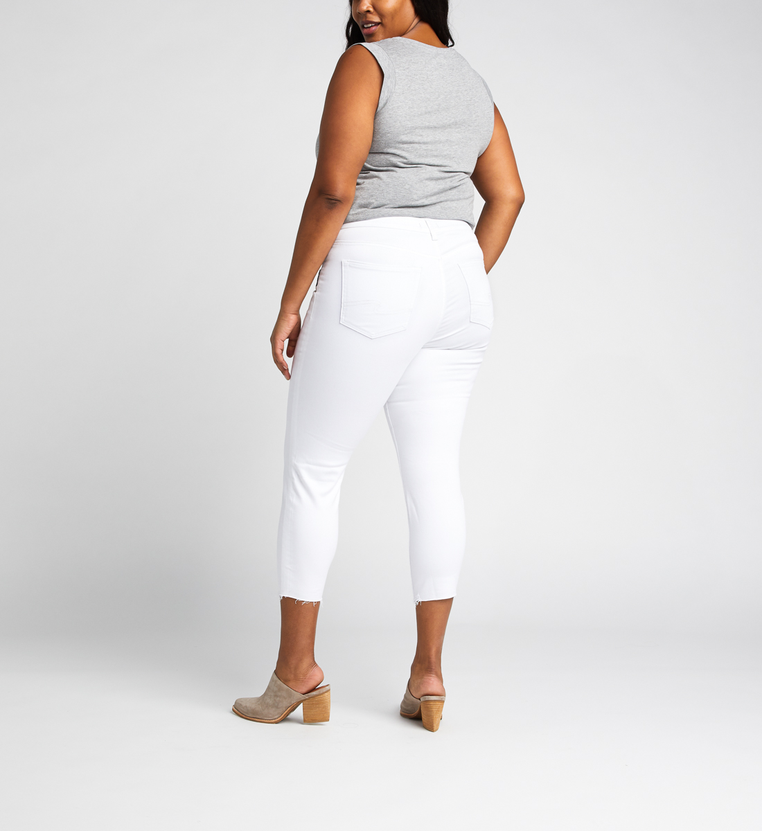 Avery High Rise Skinny Crop Pants Plus Size, White, hi-res