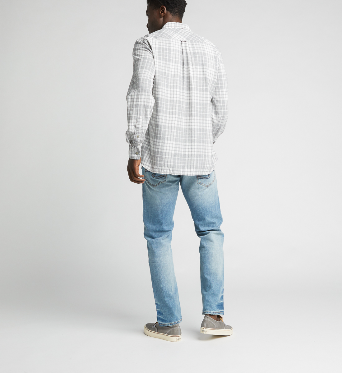 Charly Long-Sleeve Plaid Button-Down Shirt,Grey Side