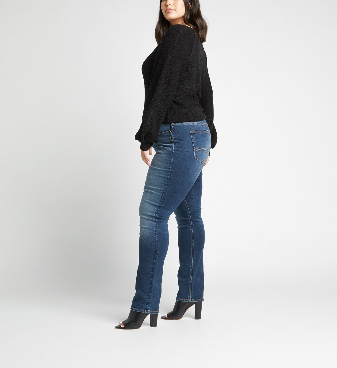 Avery High Rise Straight Jeans Plus Size,Indigo Side
