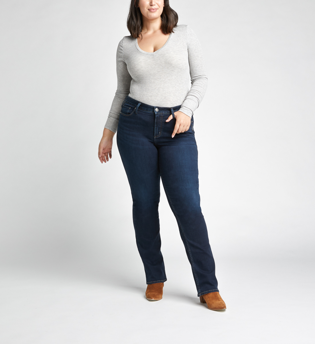 Avery High Rise Slim Bootcut Jeans Plus Size,Indigo Front