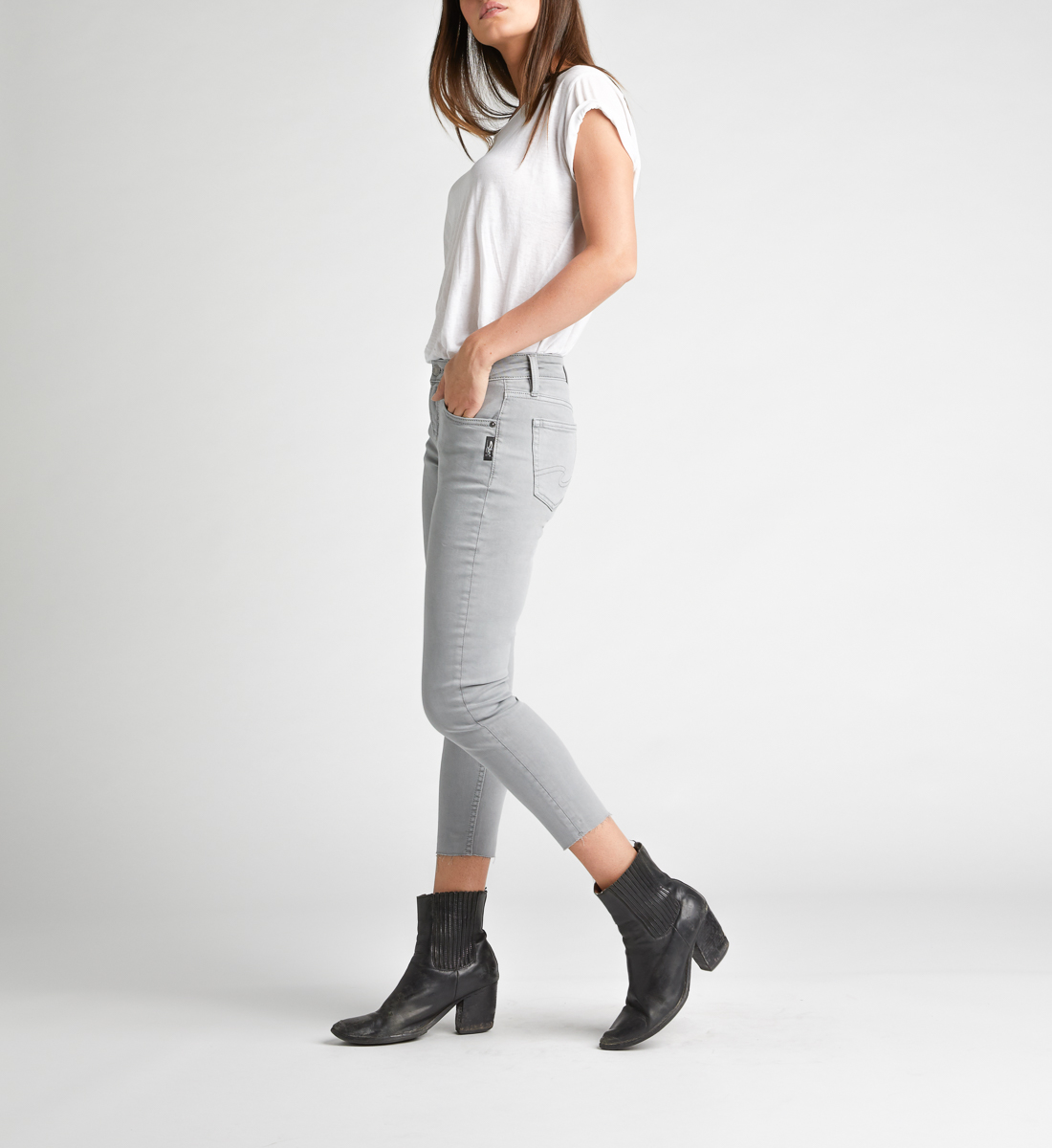 Avery High Rise Skinny Crop Pants,Grey Side