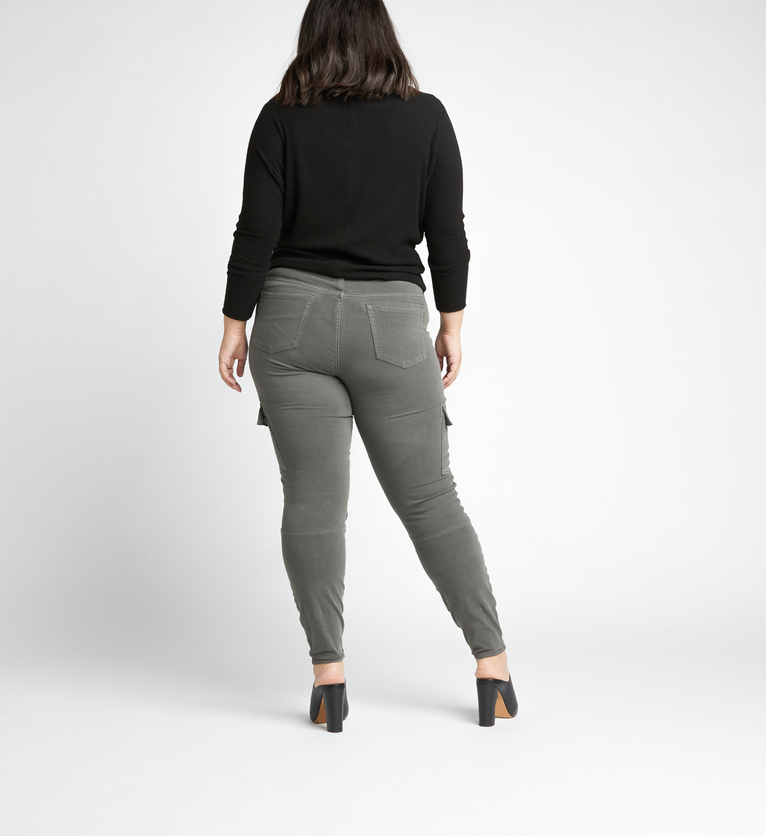 Cargo Mid Rise Skinny Leg Jeans Plus Size,Army Back