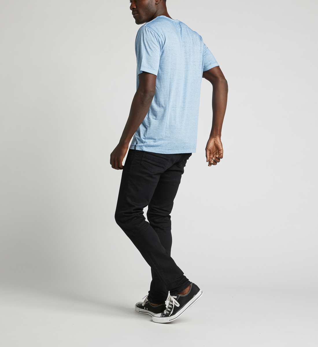 Kaleo Henley Tee,Light Blue Side
