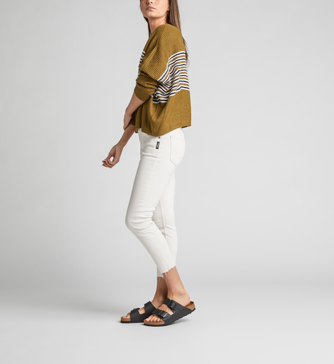 Avery High Rise Skinny Crop Pants, Cream, hi-res