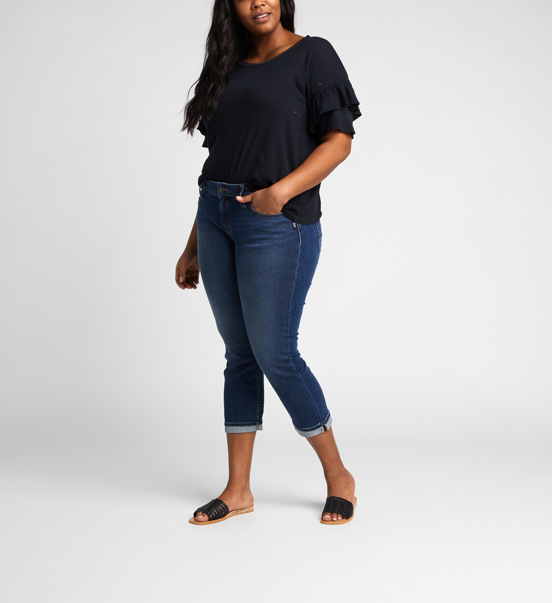 Elyse Mid Rise Capri Plus Size Side