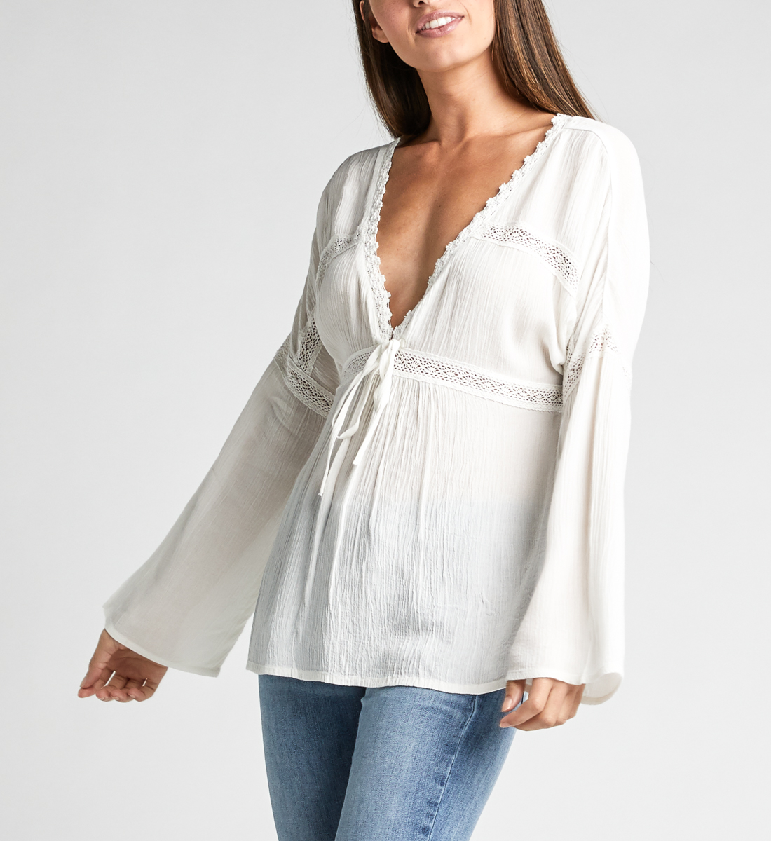 Sally Lace-Trim Peasant Blouse,Off White Front