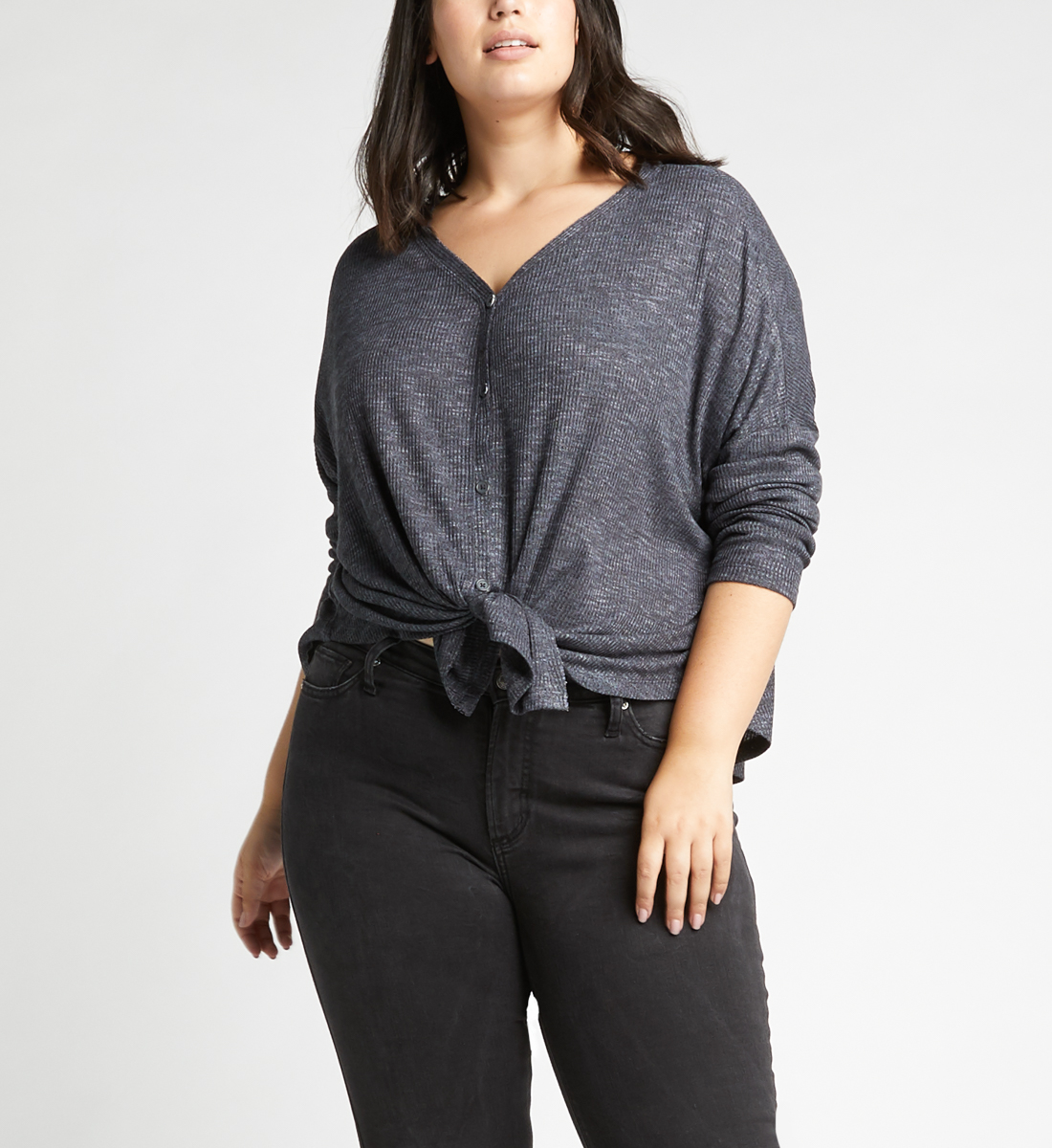 Amelia Button-Front Top Plus Size,Charcoal Front