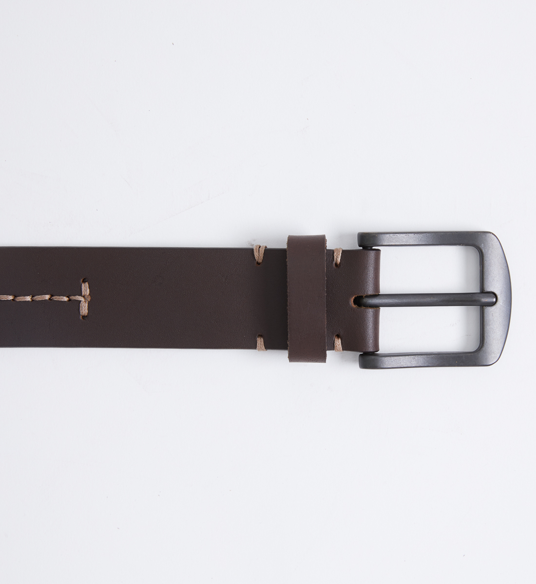 Contrast Stitch Leather Mens Belt Front