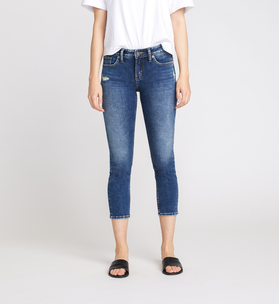 Elyse Mid Rise Slim Crop Jeans Front
