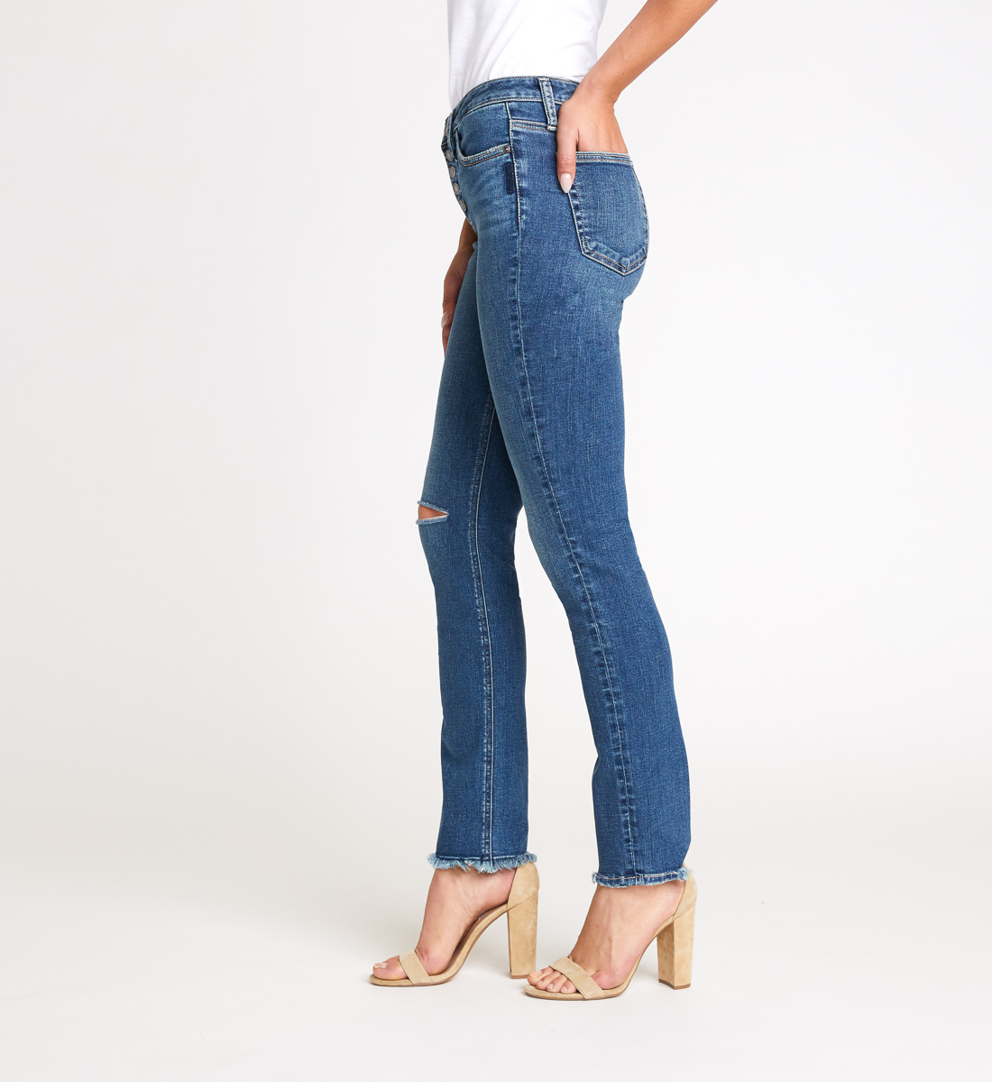 High Note High Rise Slim Leg Jeans Side