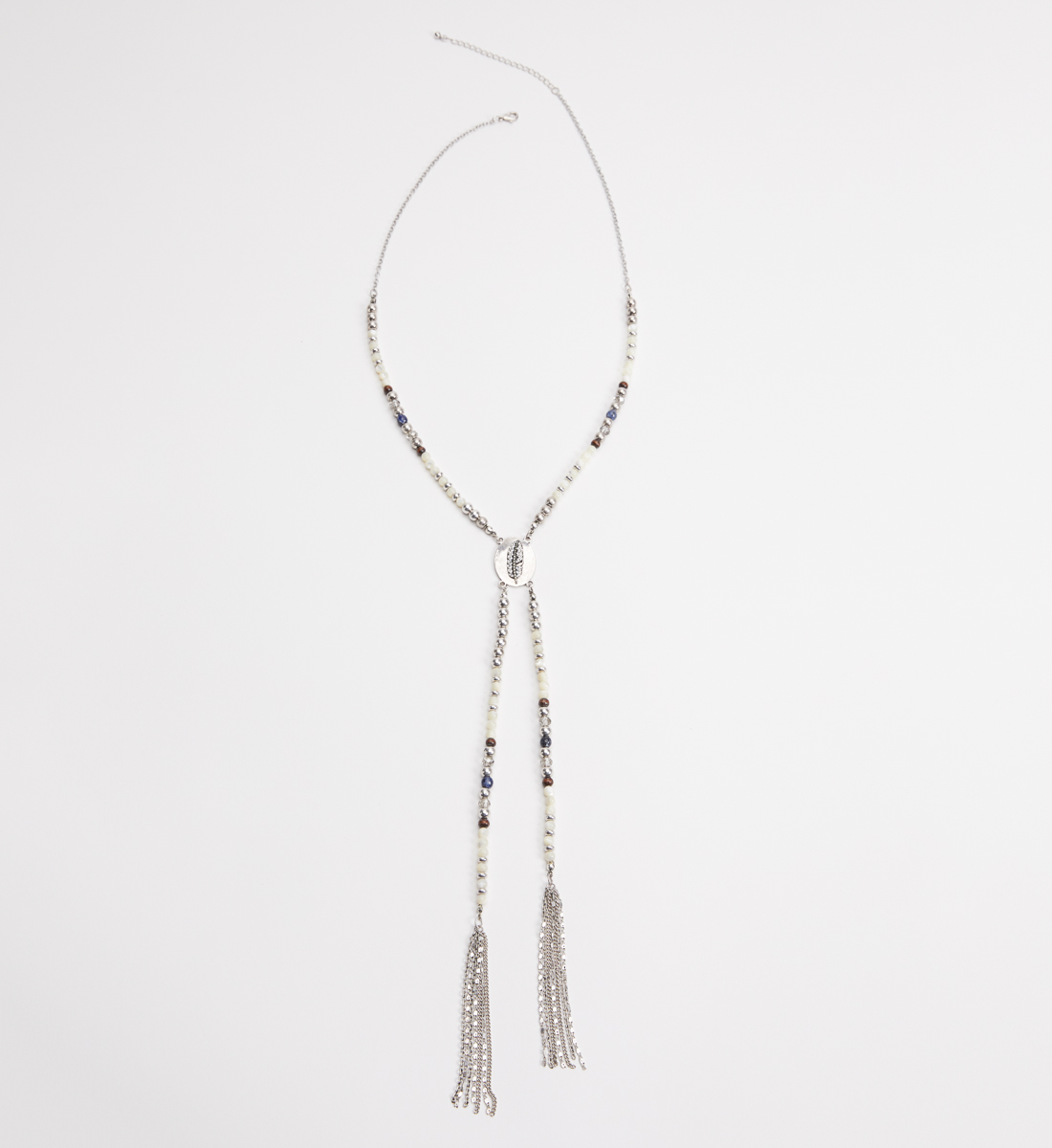 Silver-Tone Beaded Long Tassel Necklace, , hi-res