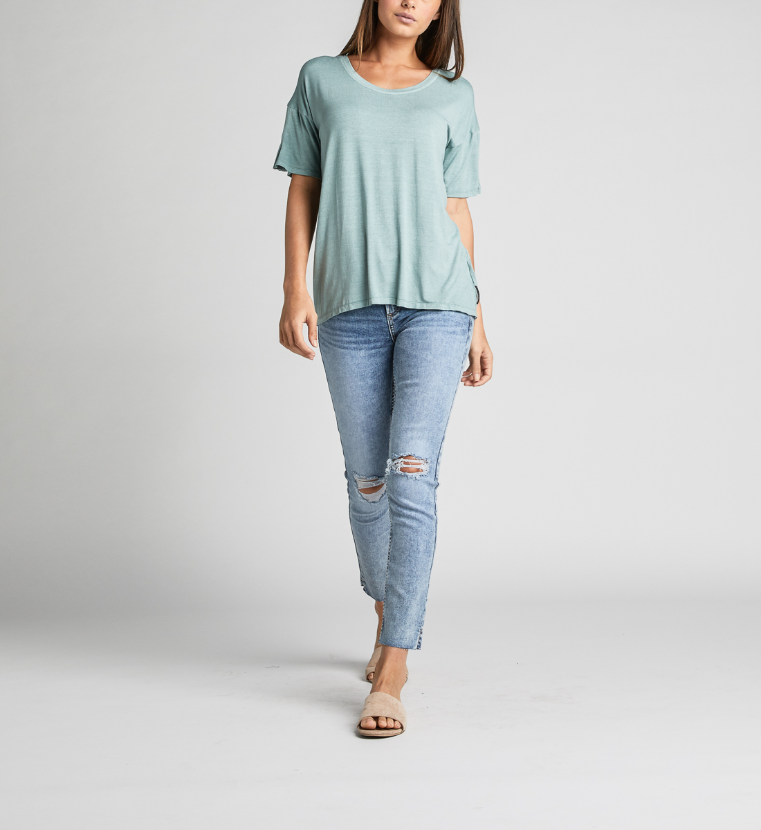Alice Pleated-Sleeve Tee, Turquoise, hi-res