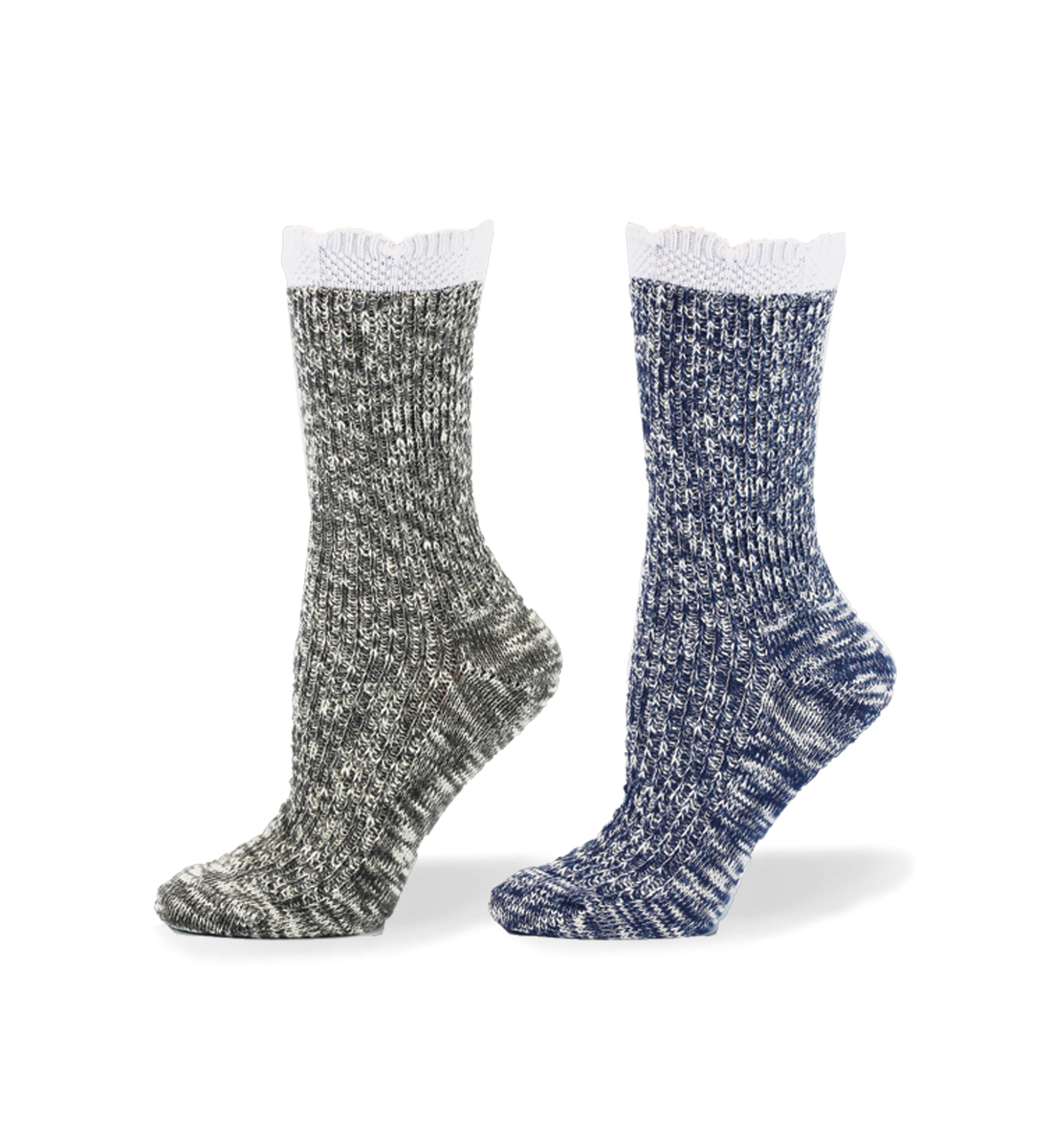 Scallop Slub Mid-Calf Socks, Light Denim, hi-res