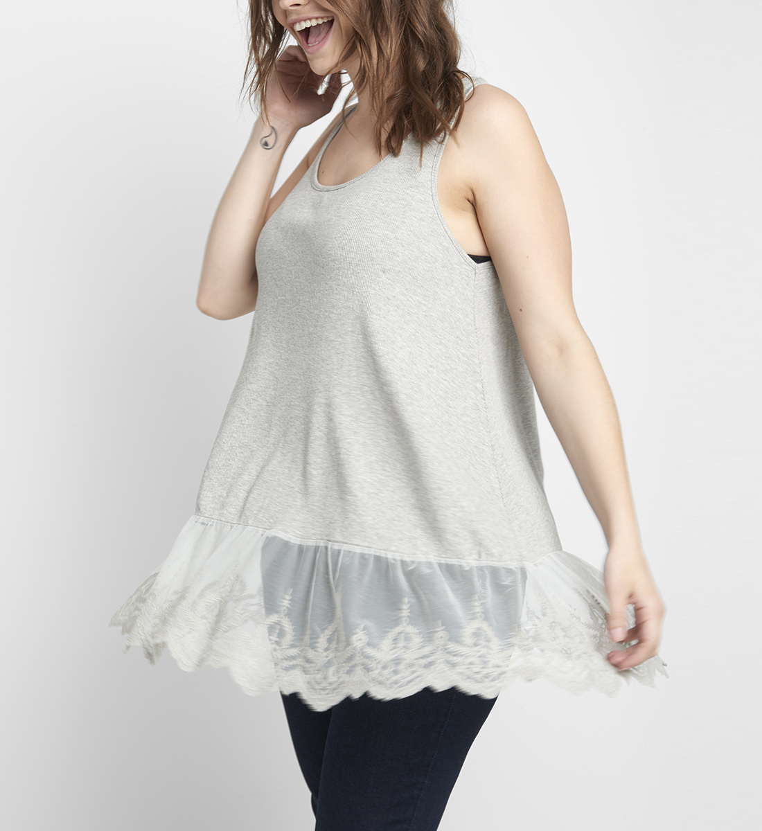 Mia Embroidered-Hem Tank Front