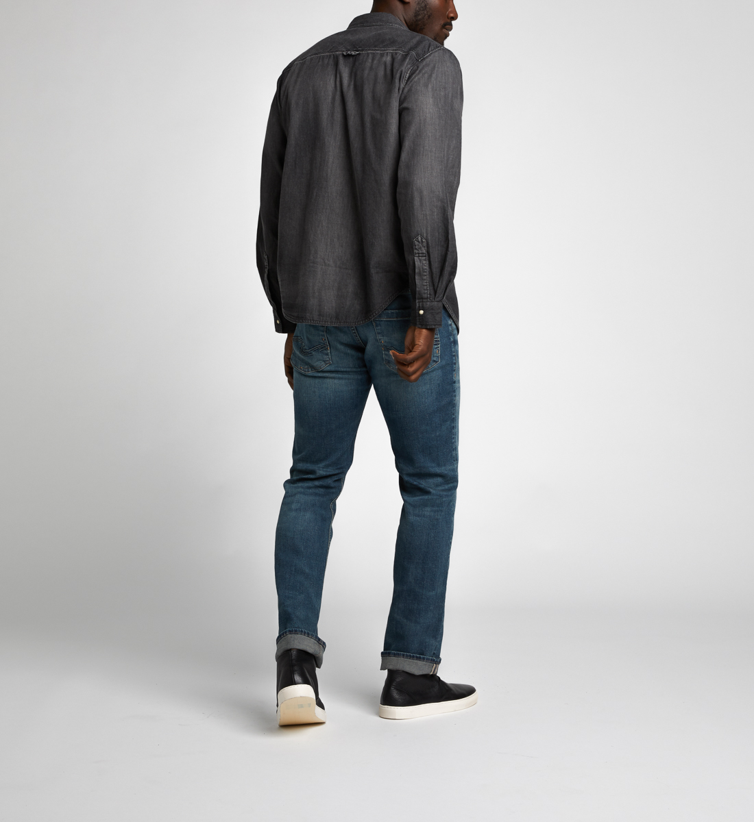 Charles Classic Denim Shirt Final Sale,Black Side