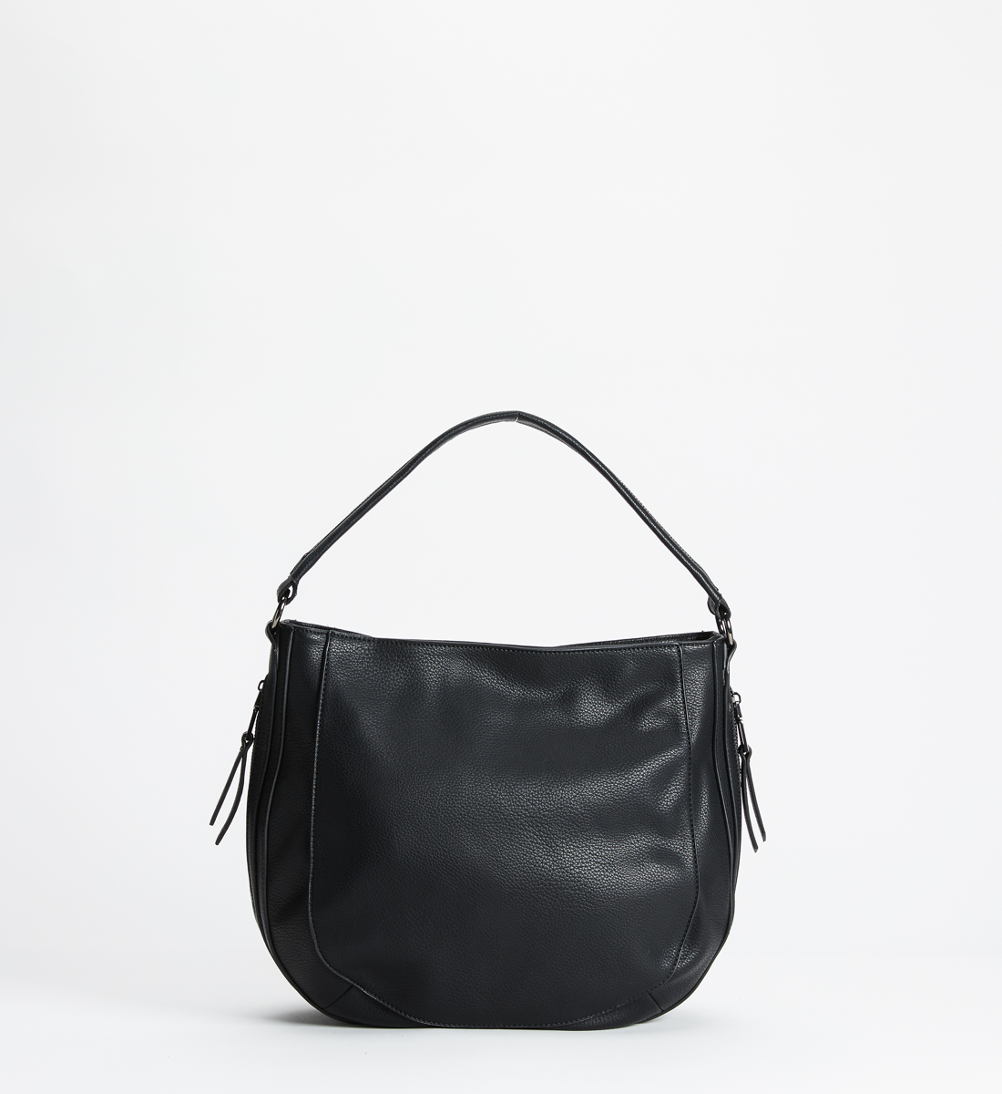 Mixed-Material Top-Zip Hobo, Black, hi-res