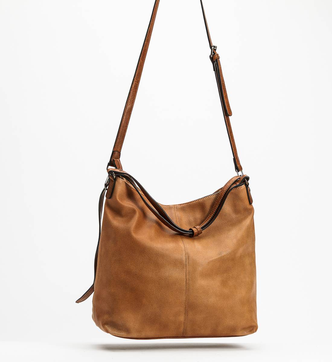 Large Embossed Hobo, Tan, hi-res
