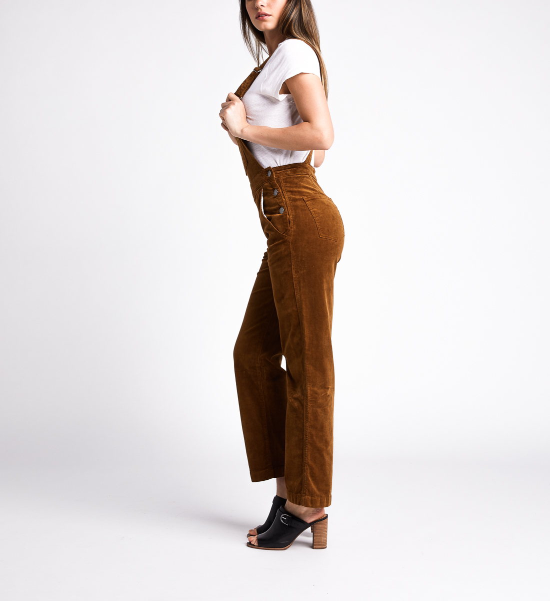 Overall Straight Leg Pants,Caramel Side