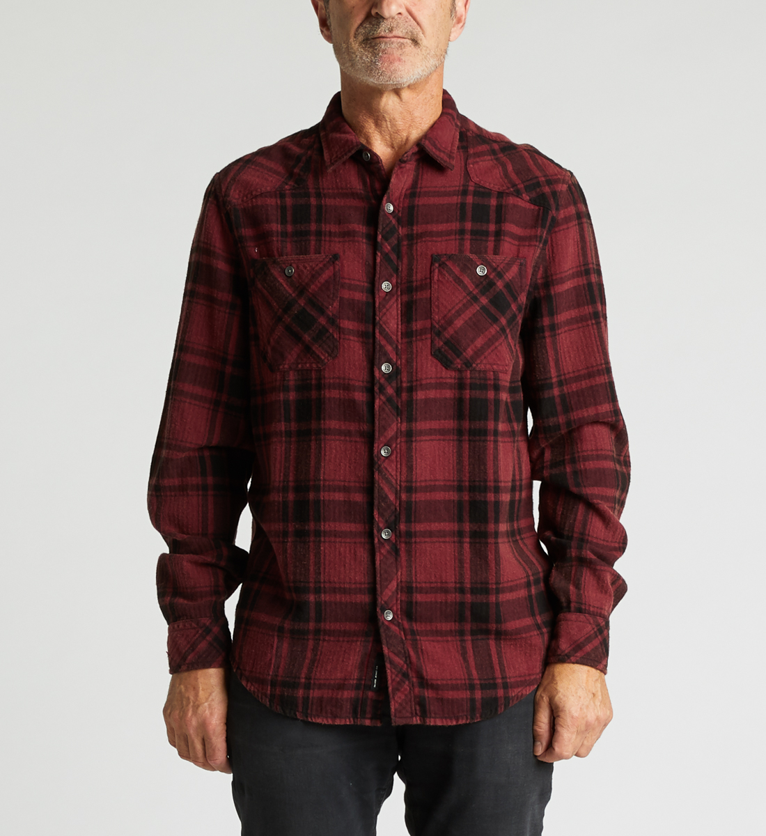 Clement Long-Sleeve Plaid Shirt Front
