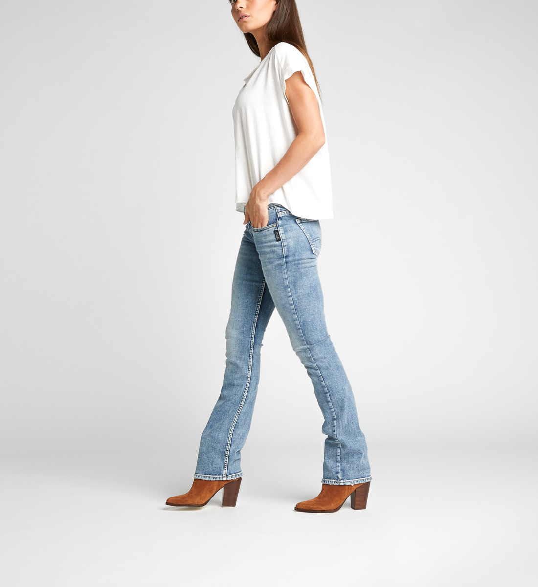 Womens Tuesday Low Rise Slim Bootcut Jean Silver Jeans Co