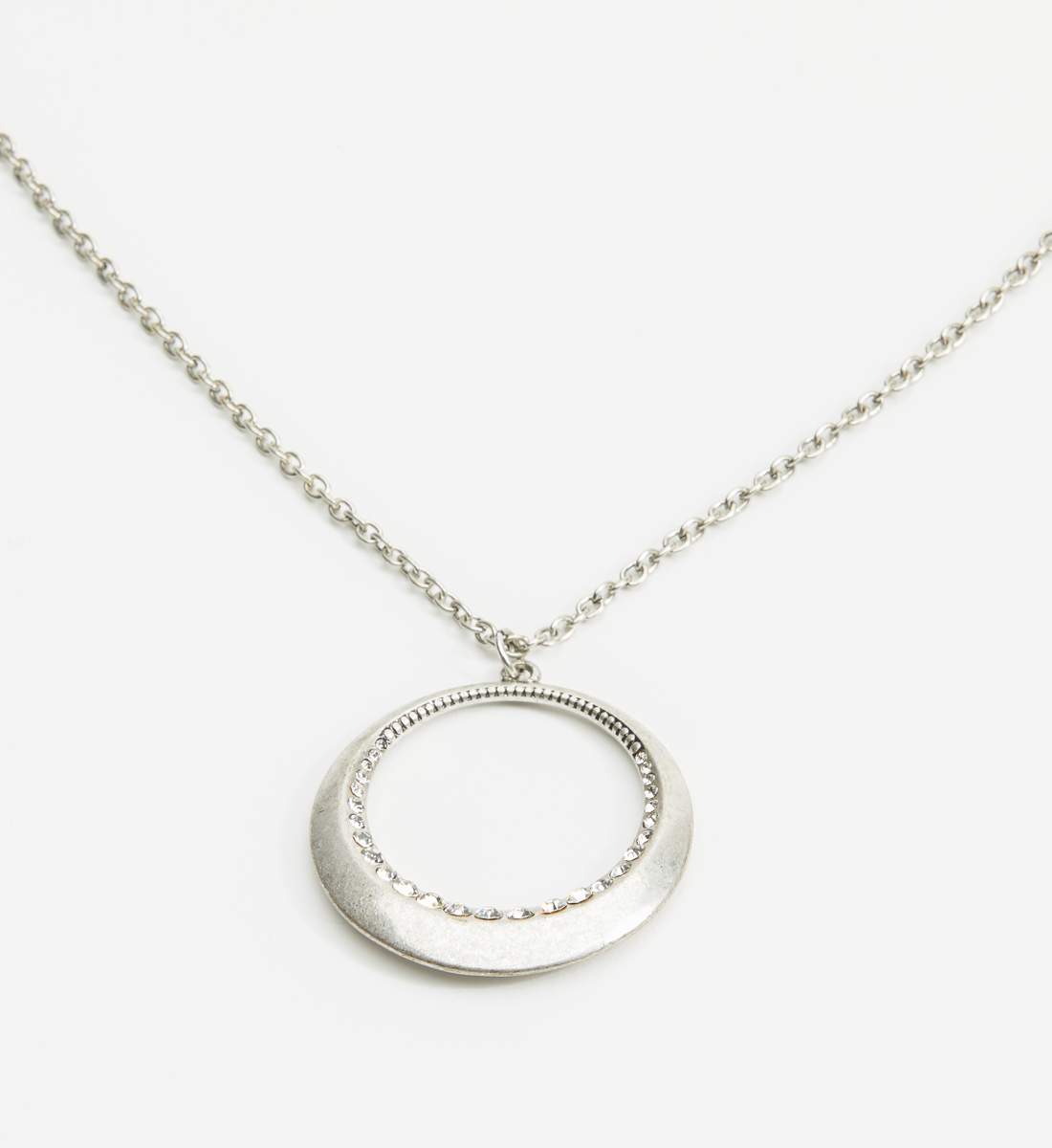 Long Ring Pendant Necklace,Silver Back